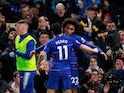 Chelsea winger Willian celebrates with Pedro after scoring against Newcastle United on January 12, 2019