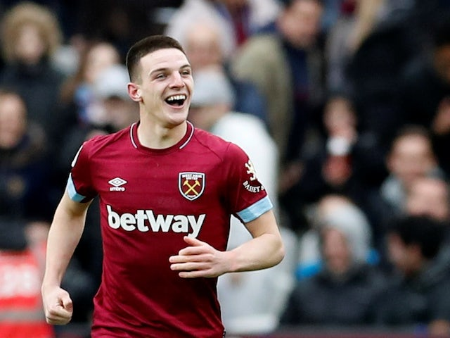 West Ham midfielder Declan Rice celebrates scoring during his side's Premier League clash with Arsenal on January 12, 2019