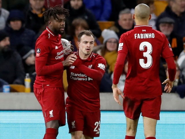 Divock Origi celebrates scoring a short-lived equaliser during the FA Cup third-round game between Wolverhampton Wanderers and Liverpool on January 7, 2019