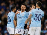 Gabriel Jesus celebrates scoring the second during the EFL Cup semi-final game between Manchester City and Burton Albion on January 9, 2019
