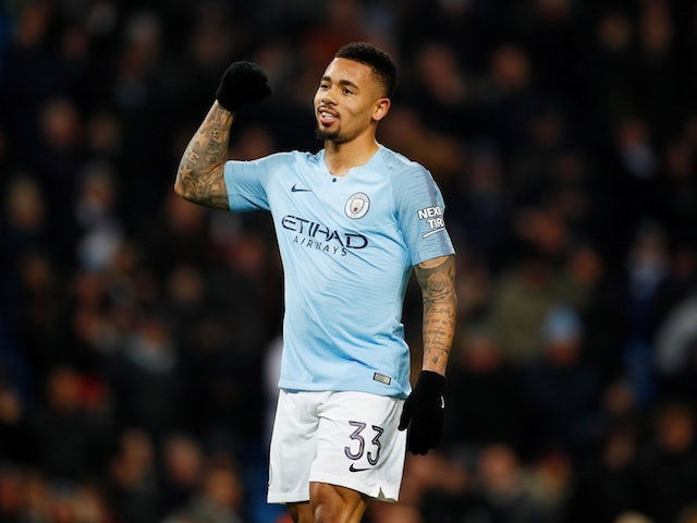 Manchester City striker Gabriel Jesus celebrates completing his hat-trick in the EFL Cup semi-final with Burton Albion on January 9, 2019