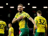 Norwich City striker Jordan Rhodes celebrates scoring during his side's Championship clash with West Brom on January 12, 2019