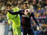 Levante's Ruben Rochina tangles with Barcelona's Juan Miranda during their Copa del Rey clash on January 10, 2019.