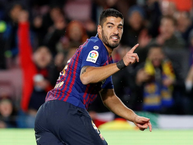 Barcelona forward Luis Suarez celebrates scoring against Eibar on January 13, 2019.