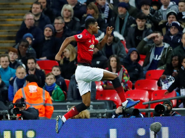 Manchester United striker Marcus Rashford celebrates scoring against Tottenham Hotspur on January 13, 2019