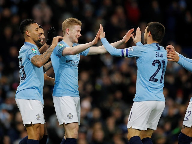 Kevin De Bruyne celebrates scoring the opener during the EFL Cup semi-final game between Manchester City and Burton Albion on January 9, 2019
