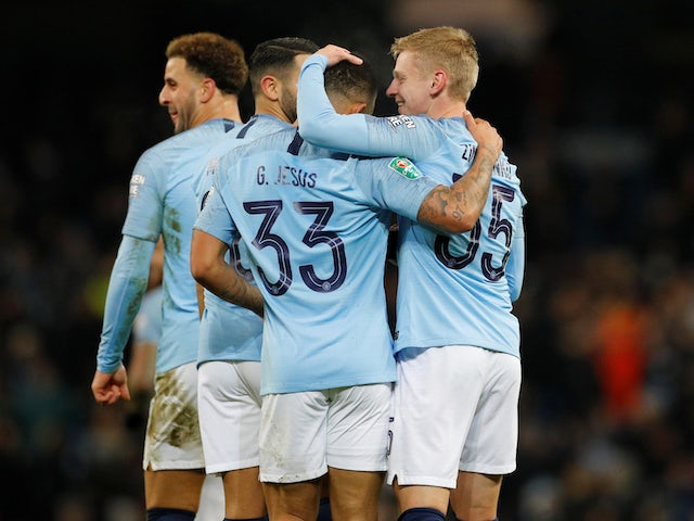 Oleksandr Zinchenko celebrates scoring the fourth during the EFL Cup semi-final game between Manchester City and Burton Albion on January 9, 2019