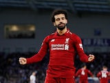 Liverpool's Mohamed Salah celebrates scoring against Brighton & Hove Albion on January 12, 2019.