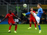 Italy's Nicolo Barella in action during a Nations League match with Portugal in November 2018