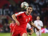 Serbia midfielder Nikola Milenkovic in action during a Nations League tie with Montenegro in November 2018