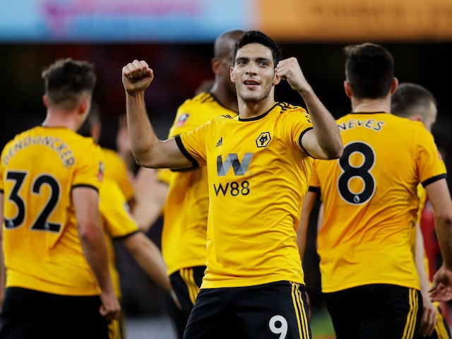Raul Jimenez celebrates scoring during the FA Cup third-round game between Wolverhampton Wanderers and Liverpool on January 7, 2019