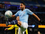 An athletic Riyad Mahrez in action during the EFL Cup semi-final game between Manchester City and Burton Albion on January 9, 2019