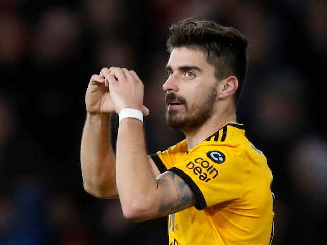Ruben Neves celebrates putting the home side back in front during the FA Cup third-round game between Wolverhampton Wanderers and Liverpool on January 7, 2019