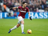 West Ham midfielder Samir Nasri in action during his side's Premier League clash with Arsenal on January 12, 2019