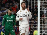 Sergio Ramos celebrates scoring for Real Madrid during the Copa del Rey clash with Leganes on January 9, 2019.