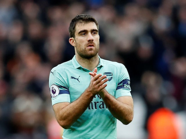 Arsenal defender Sokratis Papastathopoulos in action during his side's Premier League clash with West Ham on January 12, 2019
