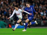Tottenham Hotspur winger Son Heung-min tussles with Chelsea defender Andreas Christensen during their EFL Cup semi-final clash on January 8, 2019