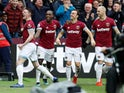 West Ham midfielder Declan Rice celebrates scoring with teammates during his side's Premier League clash with Arsenal on January 12, 2019