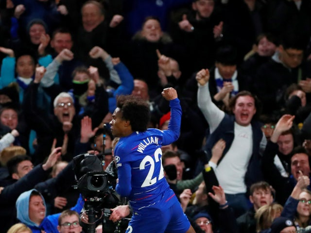 Willian celebrates after putting Chelsea back in front against Newcastle United on January 12, 2019