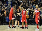 Washington Wizards celebrate after beating the New York Knicks in London on January 17, 2019