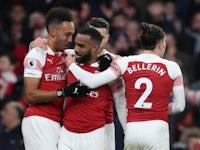 Arsenal's Alexandre Lacazette celebrates scoring against Chelsea in the Premier League on January 19, 2019.