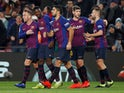 Barcelona players celebrate Ousmane Dembele's goal against Leganes in La Liga on January 20, 2019.