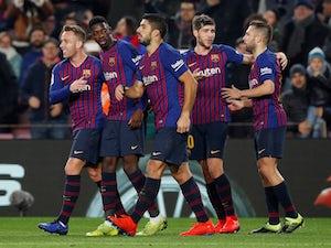 Barcelona players celebrate Ousmane Dembele's goal against Leganes in La Liga on January 20, 2019.