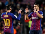 Barcelona duo Luis Suarez and Lionel Messi celebrate a goal against Leganes in La Liga on January 20, 2019.