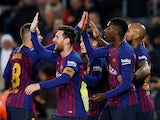 Barcelona players celebrate scoring against Levante in the Copa del Rey on January 17, 2019.