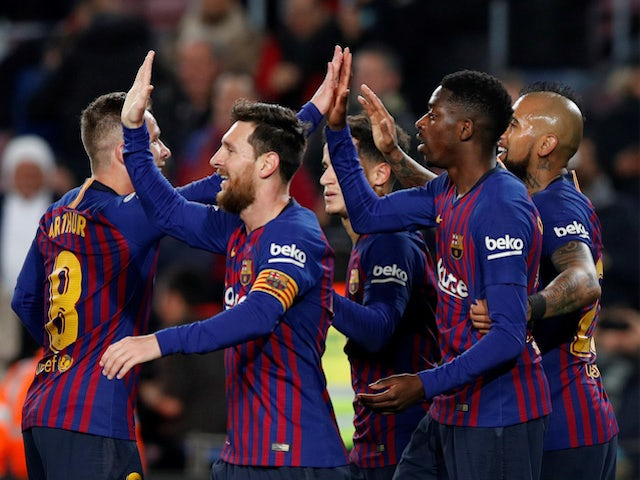 34bdf0dee34 Barcelona players celebrate scoring against Levante in the Copa del Rey on  January 17