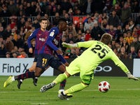 Barcelona's Ousmane Dembele in action against Levante in the Copa del Rey on January 17, 2019.