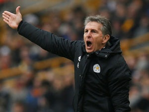 Claude Puel gesticulates during the Premier League game between Wolverhampton Wanderers and Leicester City on January 19, 2019