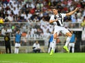 Juventus striker Cristiano Ronaldo scores during the Italian Super Cup clash with AC Milan on January 16, 2019