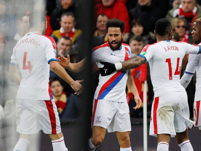 Andros Townsend celebrates scoring for Crystal Palace against Liverpool in the Premier League on January 19, 2019.