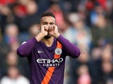 Manchester City full-back Danilo celebrates after scoring against Huddersfield Town on January 20, 2019