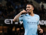 Manchester City striker Gabriel Jesus celebrates scoring against Wolves on January 14, 2019