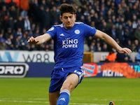 Harry Maguire in action during the Premier League game between Wolverhampton Wanderers and Leicester City on January 19, 2019