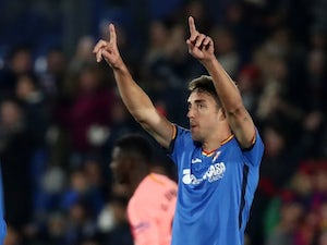 Getafe's Jaime Mata celebrates scoring against Barcelona on January 6, 2019