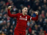 Liverpool's Jordan Henderson celebrates on January 19, 2019