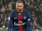 Kylian Mbappe celebrates scoring for PSG on January 19, 2019