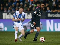 Real Madrid attacker Isco in action with Leganes attacker Javier Eraso in the Copa del Rey on January 16, 2019.