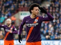 Manchester City forward Leroy Sane celebrates during the Premier League clash with Huddersfield Town on January 20, 2019