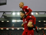 Roberto Firmino and Fabinho celebrate a goal for Liverpool against Crystal Palace in the Premier League on January 19, 2019