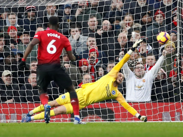 Pogba Pogba opens the scoring for Manchester United from the penalty spot against Brighton & Hove Albion on January 19, 2019