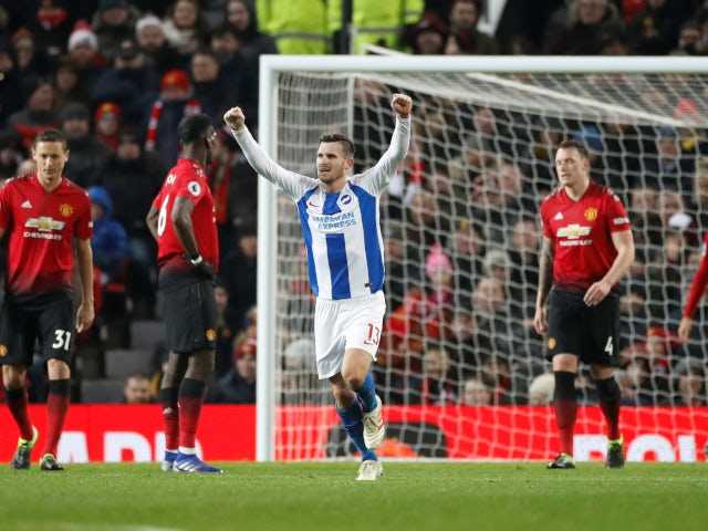 Pascal Gross celebrates his consolation goal in Brighton & Hove Albion's defeat to Manchester United on January 19, 2019