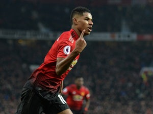Marcus Rashford celebrates scoring Manchester United's second goal against Brighton & Hove Albion on January 19, 2019