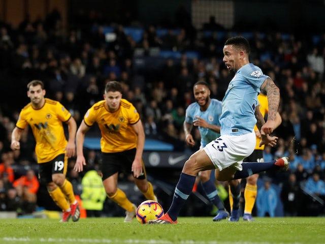 Manchester City striker Gabriel Jesus scores his second goal against Wolves on January 14, 2019