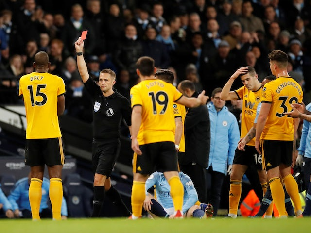 Wolverhampton Wanderers defender Willy Boly is sent off during their Premier League clash with Manchester City on January 14, 2019