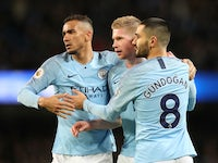 Manchester City midfielder Kevin De Bruyne celebrates with teammates after forcing an own goal during the Premier League clash with Wolverhampton Wanderers on January 14, 2019