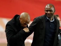 Monaco manager Thierry Henry and Nice boss Patrick Vieira during their Ligue 1 clash on January 16, 2019